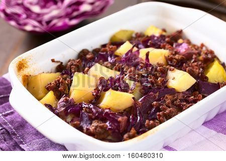 Baked red cabbage apple mincemeat and potato casserole in dish photographed with natural light (Selective Focus Focus in the middle of the image)