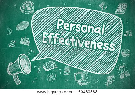 Business Concept. Loudspeaker with Wording Personal Effectiveness. Cartoon Illustration on Blue Chalkboard.