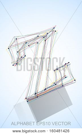 Abstract illustration of a Multicolor sketched Z with Reflection. Hand drawn 3D Z for your design. EPS 10 vector illustration.