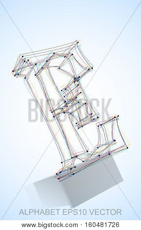 Abstract illustration of a Multicolor sketched E with Reflection. Hand drawn 3D E for your design. EPS 10 vector illustration.