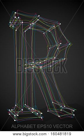 Abstract illustration of a Multicolor sketched R with Transparent Shadow. Hand drawn 3D R for your design. EPS 10 vector illustration.