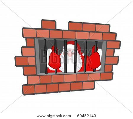 Santa Claus Prisoner. Christmas In Prison. Window In Prison With Bars. Bad Santa Criminal. New Year