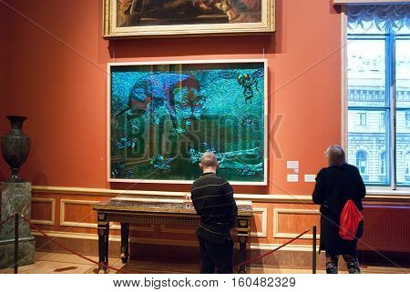 St Petersburg, Russia, Dec 1, 2016: People look at the exhibit of temporary modern art exhibition