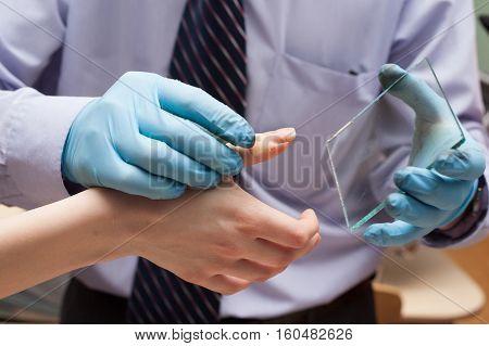 Expert Takes Fingerprints. Investigation Of The Crime.