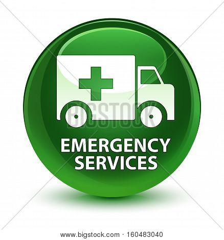 Emergency Services Glassy Soft Green Round Button