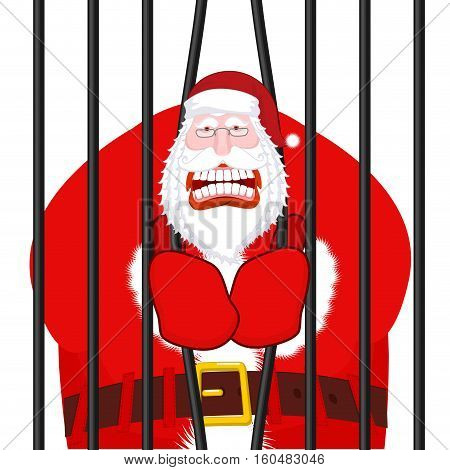 Santa Claus Gangster. Christmas In Prison. Window In Prison With Bars. Bad Santa Prisoner Criminal.