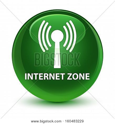 Internet Zone (wlan Network) Glassy Soft Green Round Button