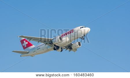 Plane Airbus A319 Of Swiss International Air Lines Taking Off