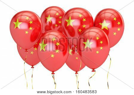 Balloons with flag of China holyday concept. 3D rendering isolated on white background