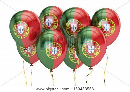 Balloons with flag of Portugal holyday concept. 3D rendering isolated on white background