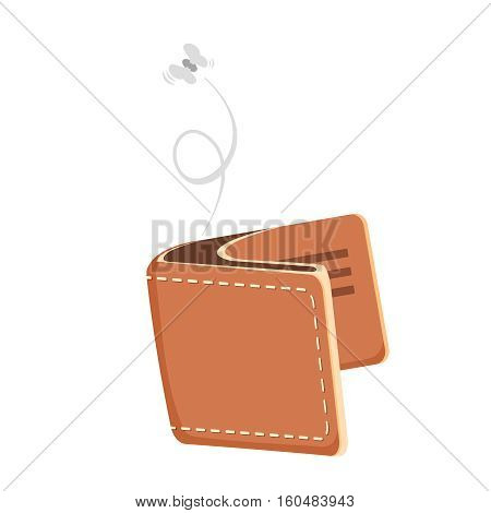 Cartoon empty wallet illustration with flying moth. Vector icon