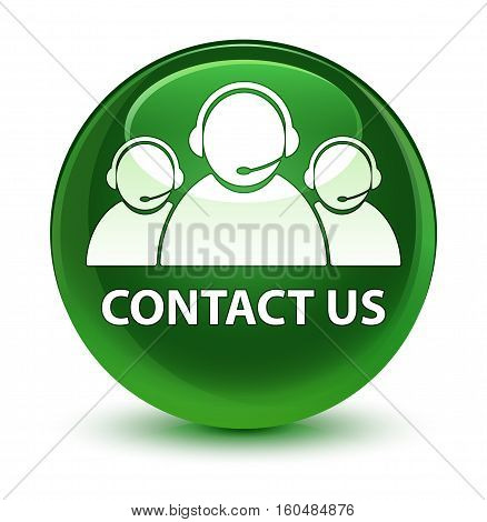 Contact Us (customer Care Team Icon) Glassy Soft Green Round Button