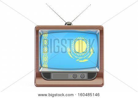 old tv with flag of Kazakhstan. Kazakh Television concept 3D rendering