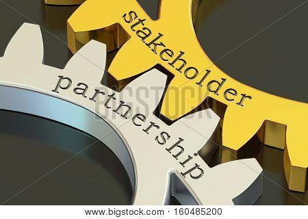 Stakeholder Partnership concept on the gearwheels 3D rendering