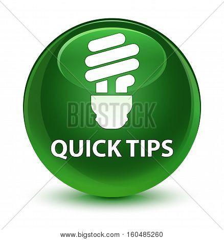 Quick Tips (bulb Icon) Glassy Soft Green Round Button
