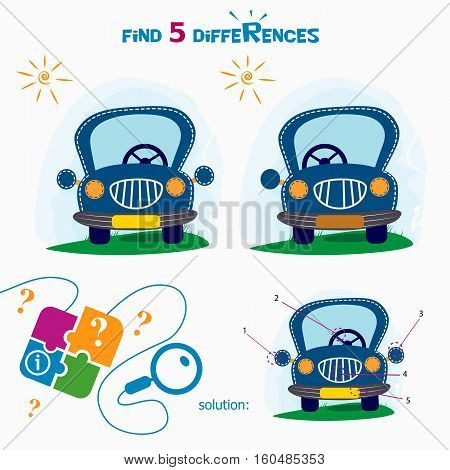 Find 5 differences. Cartoon Vector Illustration of Finding Differences Educational Activity Task for Children with cute car.