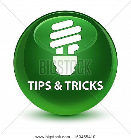 Tips And Tricks (bulb Icon) Glassy Soft Green Round Button