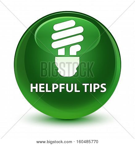 Helpful Tips (bulb Icon) Glassy Soft Green Round Button