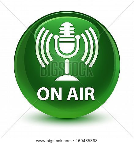 On Air (mic Icon) Glassy Soft Green Round Button