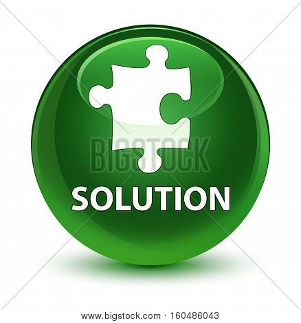 Solution (puzzle Icon) Glassy Soft Green Round Button