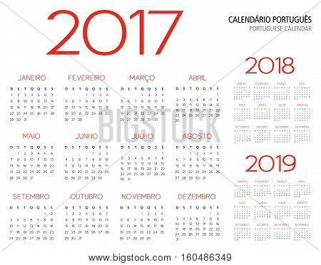 portuguese calendar grid 2017 2018 2019 vector illustration