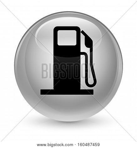 Fuel Dispenser Icon Glassy White Round Button