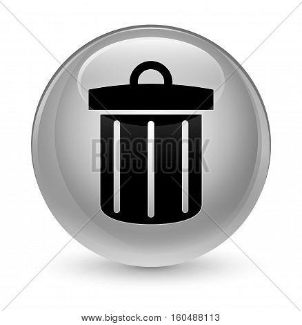 Recycle Bin Icon Glassy White Round Button