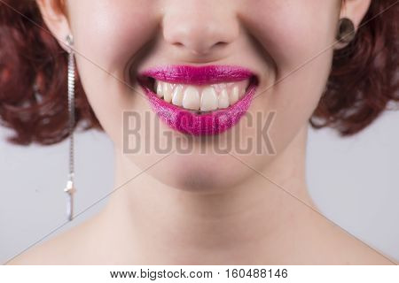Close Up Of Red Glossy Female Lips Smiling