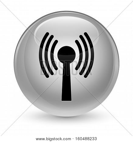 Wlan Network Icon Glassy White Round Button