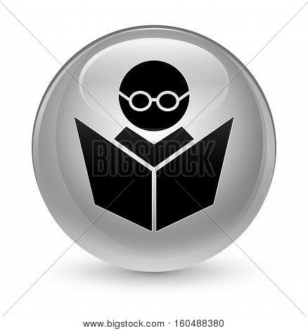 Elearning Icon Glassy White Round Button