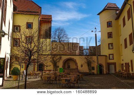 WURZBURG GERMANY - APRIL 07 2015: Marienberg Fortress in Wurzburg Germany on April 07 2015. Wurzburg is a city in the region of Franconia Northern Bavaria Germany.