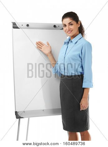 Young beautiful businesswoman with flip chart on white background