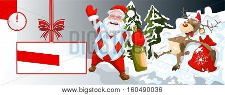 Santa with reindeer - New Year's card - a festive screensaver - Christmas poster - an invitation to a banquet