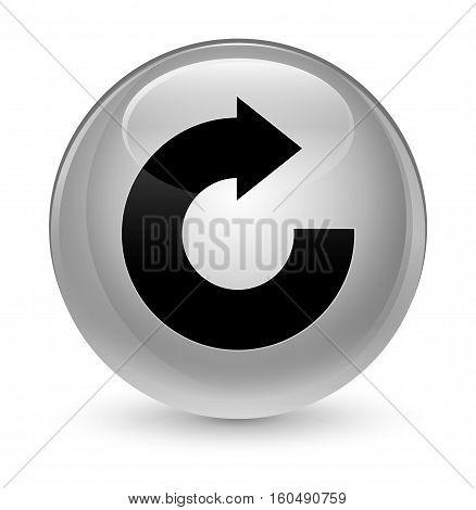 Reply Arrow Icon Glassy White Round Button
