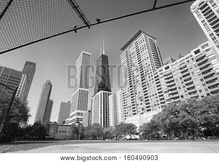 Black And White Photo Of Chicago City Downtown, Usa.