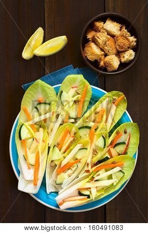 Fresh salad of endive leaves cucumber carrot apple and sunflower seeds croutons and lemon wedges above photographed overhead with natural light