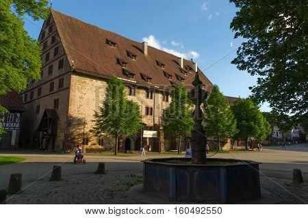 MAULBRONN GERMANY - MAI 17 2015: row of Tudor style houses at the monastery courtyard in Maulbronn. Cistercian Monastery Maulbronn is part of the UNESCO World Heritage Site.