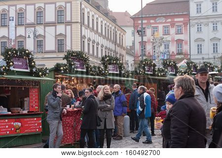 Brno,Czech Republic-November 26,2016 :People browsing market stalls at Christmas market on the Cabbage Market on November 26, 2016 Brno Czech Republic