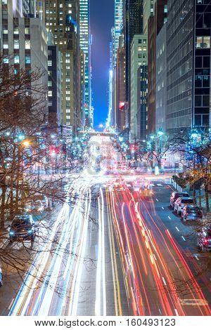 Big City lights and traffic - New York City night, USA - long exposure