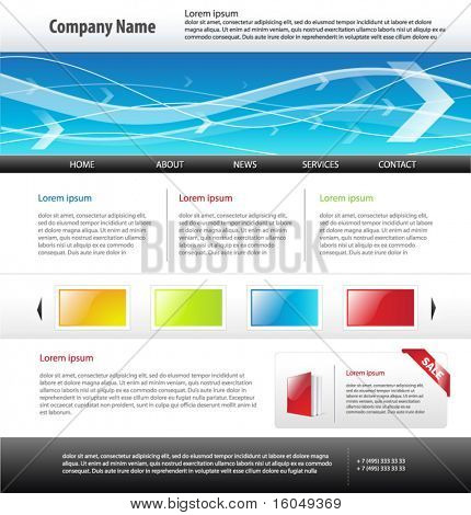 Web 2.0  site template, vector.