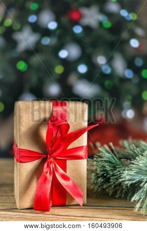 Sweet christmas decoraion with gift and bokeh