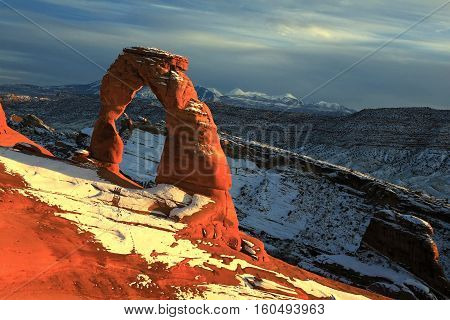 Famous Delicate Arch  before a winter storm
