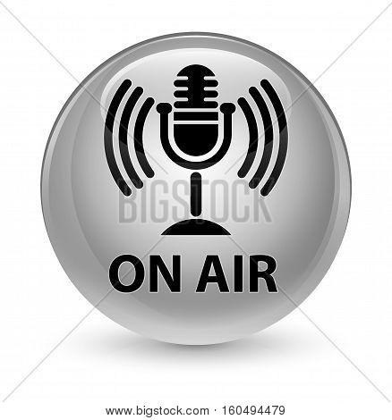 On Air (mic Icon) Glassy White Round Button