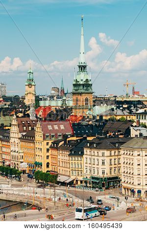 Stockholm, Sweden. The Scenic Top View Of Historical Center With Tall Steeple Of The German Church Or St. Gertrude's Church In Gamla Stan, The Old Town In Central Part Of Swedish Capital In Summer.