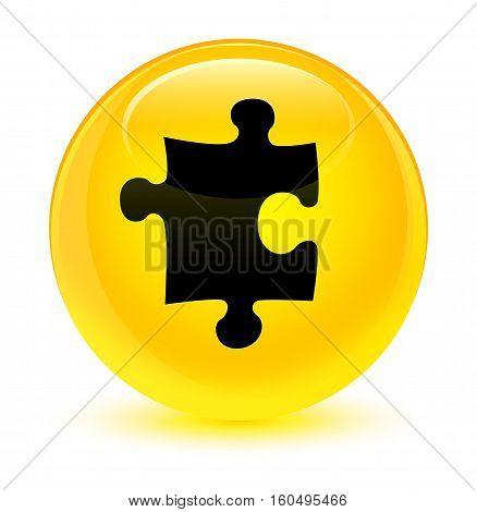 Puzzle Icon Glassy Yellow Round Button