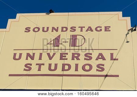 ORLANDO USA - NOVEMBER 1 2016: Entrance to Shrek 4D ride in soundstage. Universal Studios Orlando is a theme park resort in Orlando Florida USA