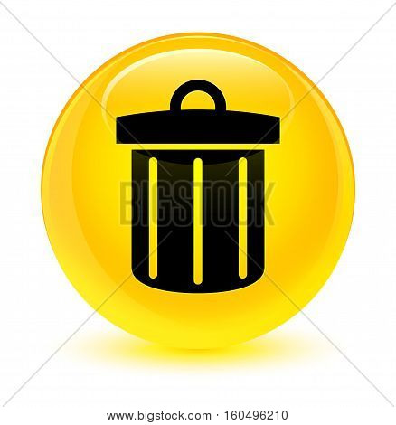 Recycle Bin Icon Glassy Yellow Round Button