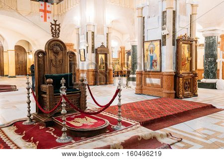 Tbilisi, Georgia - October 21, 2016: Interior Of The Holy Trinity Cathedral of Tbilisi. Sameba is the main cathedral of the Georgian Orthodox Church