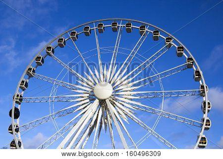 GDANSK, POLAND - DECEMBER 5, 2016: Ferris wheel on traditional winter Christmas market