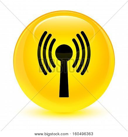 Wlan Network Icon Glassy Yellow Round Button